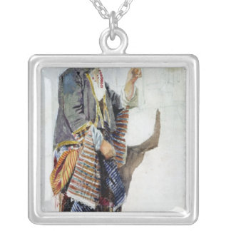 Figure of a girl in Turkish costume, 19th century Silver Plated Necklace