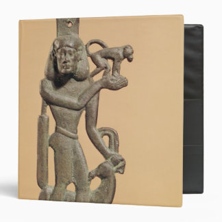 Figure of a man holding a monkey 3 ring binders