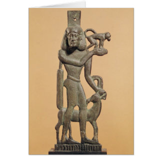 Figure of a man holding a monkey card