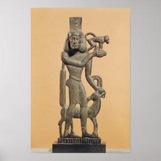 Figure of a man holding a monkey print