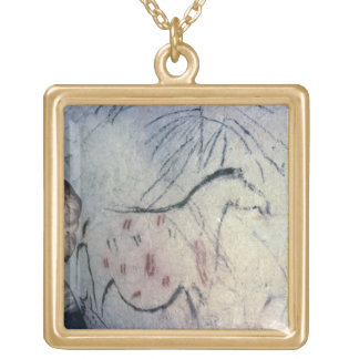 Figure of a pregnant mare with parallel line marki gold plated necklace