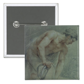Figure of a Warrior, partly draped, 18th century 2 Inch Square Button