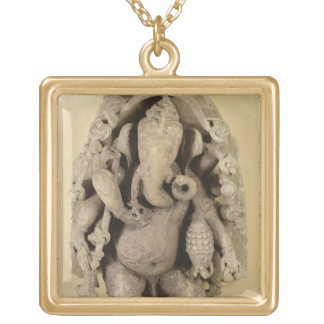 Figure of Ganapati, Chandella Dynasty (sandstone) Gold Plated Necklace