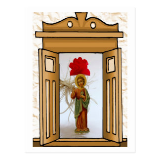 Figure of Jesus in the doorway Postcard