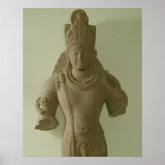 Figure of Lord Vishnu, Mathura (red sandstone) Poster