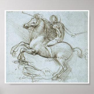 Figure on Horseback, Leonardo Da Vinci Poster