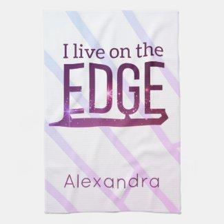 Figure skate blade Towel live on edge pink purple