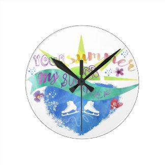 Figure Skate Design Round Clock