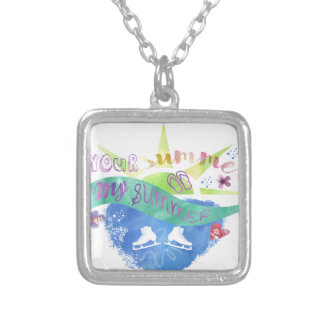 Figure Skate Design Silver Plated Necklace