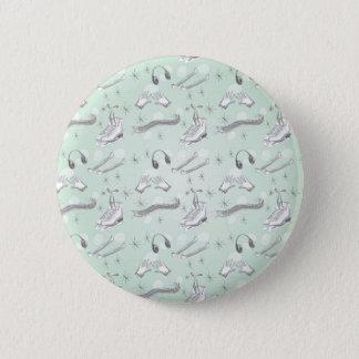 Figure Skate Sketch Art Mint Green Giftware Pinback Button