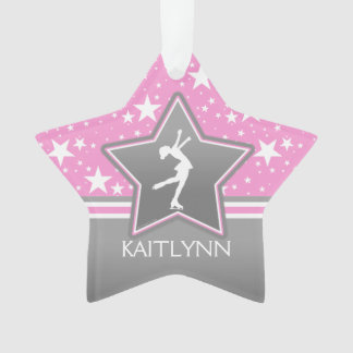 Figure Skater Among the Stars Pink with YOUR NAME Ornament