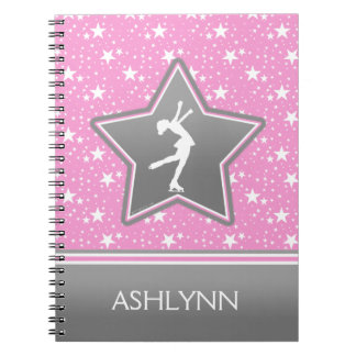 Figure Skater Among the Stars Pink with YOUR NAME Spiral Notebook
