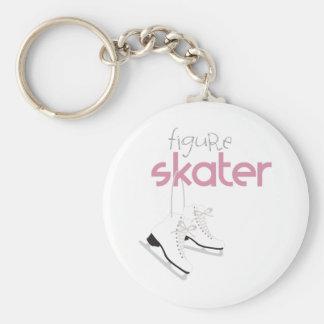 Figure Skater Basic Round Button Keychain