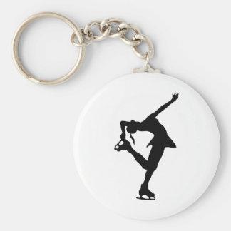 Figure Skater - Black & White Basic Round Button Keychain