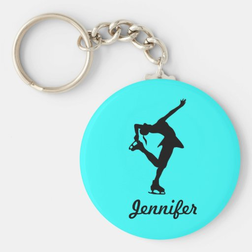 Figure Skater Girl & Name Key Chain (Aqua)