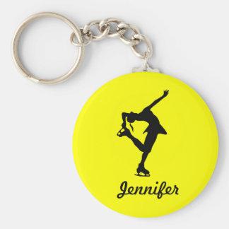 Figure Skater Girl & Name Key Chain (Yellow)