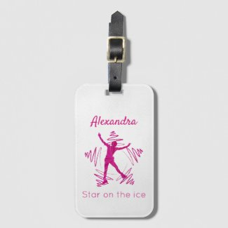 Figure skater luggage tag star ice pink swirl