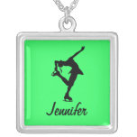 Figure Skater Necklace- lime- Personalize It!