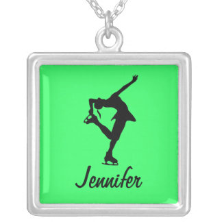Figure Skater Necklace- lime- Personalize It! Silver Plated Necklace
