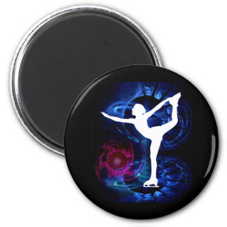 Figure Skater on Technicolor Ice 2 Inch Round Magnet