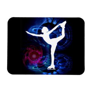 Figure Skater on Technicolor Ice Rectangular Photo Magnet