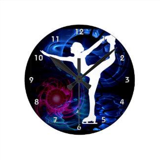 Figure Skater on Technicolor Ice Round Clock