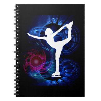 Figure Skater on Technicolor Ice Spiral Notebook