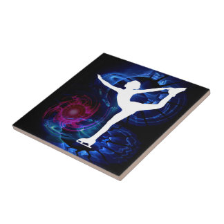 Figure Skater on Technicolor Ice Tile