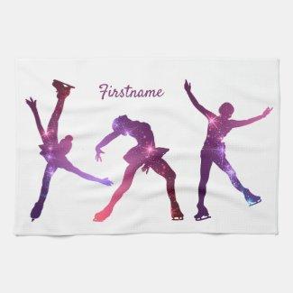 Figure skater Pink Purple star - ice skate towel