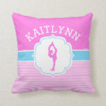 Figure Skater Pink Stripes with Baby Blue Throw Pillow