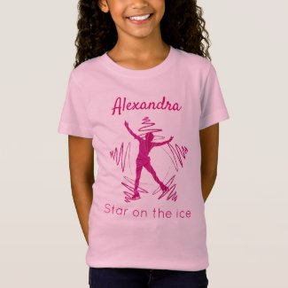 Figure skater t-shirt star on ice pink red swirl