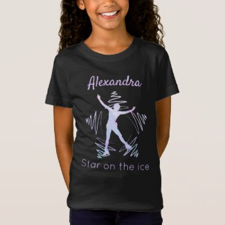 Figure skater t-shirt star on ice purple crystals