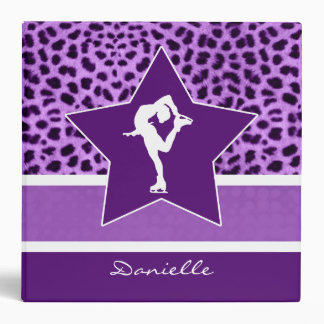 Figure Skater w/ Purple Cheetah Print and Monogram Binder