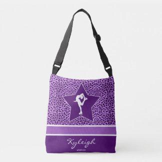 Figure Skater w/ Purple Cheetah Print and Monogram Crossbody Bag