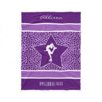 Figure Skater w/ Purple Cheetah Print and Monogram Fleece Blanket
