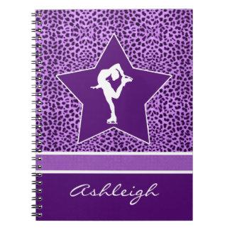 Figure Skater w/ Purple Cheetah Print and Monogram Spiral Notebook