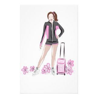 Figure Skater With Zuka Bag Personalized Stationery