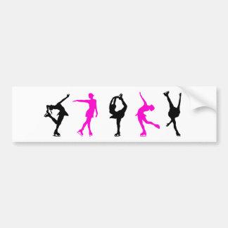 figure skaters hot pink black bumper stickers