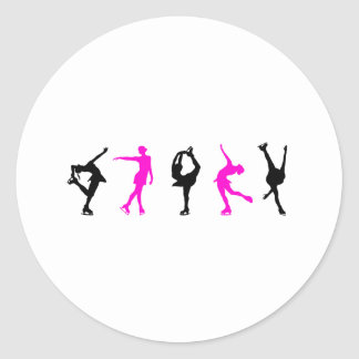 figure skaters  hot pink & black classic round sticker