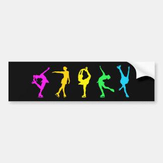 Figure Skaters Neon Pastel Rainbow Car Bumper Sticker