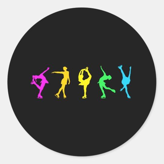 Figure Skaters Neon Pastel Rainbow Classic Round Sticker