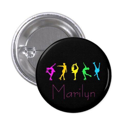 figure skaters neon rainbow button