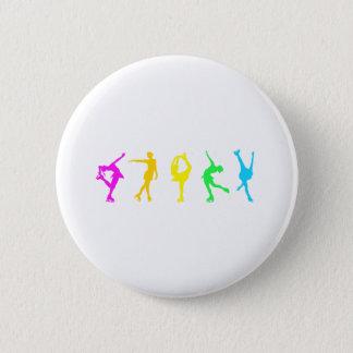 figure skaters neon rainbow pinback button