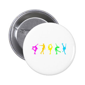 figure skaters neon rainbow pinback button