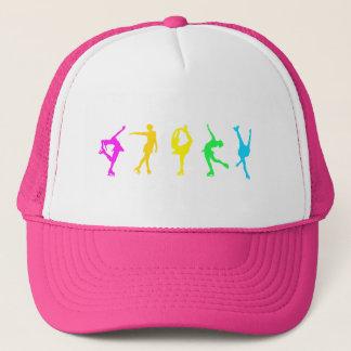 figure skaters neon rainbow trucker hat