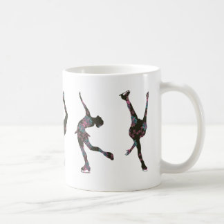 Figure Skaters Pink Gray Pattern Coffee Mug
