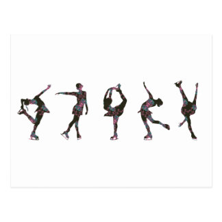 Figure Skaters, Pink, Gray Pattern Postcard