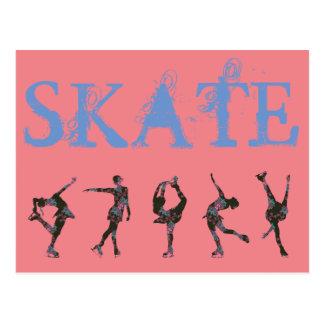 Figure Skaters, Pink, Gray Pattern - Skate!! Postcard