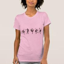 Figure Skaters, Pink, Gray Pattern T-Shirt