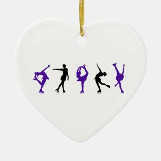 Figure Skaters - Purple & Black Ceramic Ornament